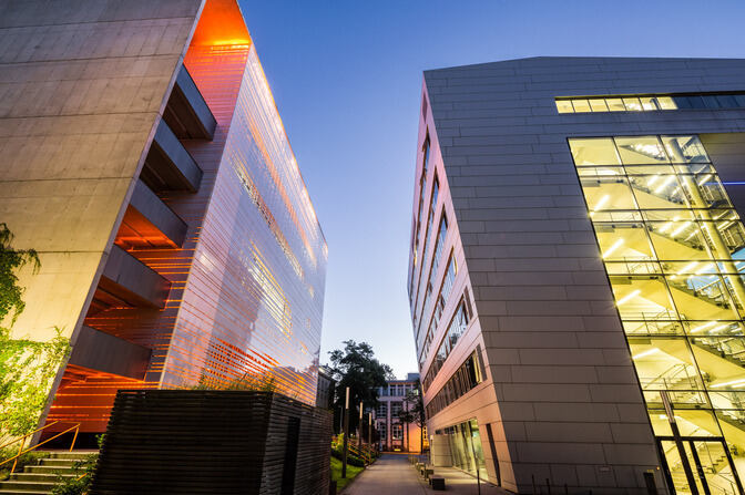 Illuminated RWTH buildings at dusk